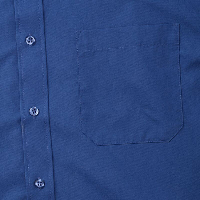 Blau - Close up - Russell Collection Herren Hemd Easy Care Pure