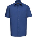 Blau - Back - Russell Collection Herren Hemd Easy Care Pure