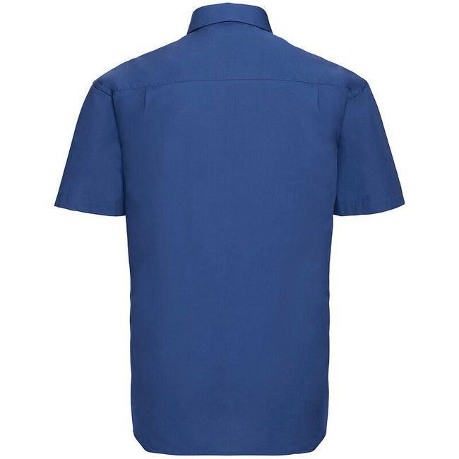Blau - Side - Russell Collection Herren Hemd Easy Care Pure