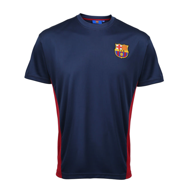 Marineblau - Front - Herren Performance T-Shirt mit FC Barcelona Design