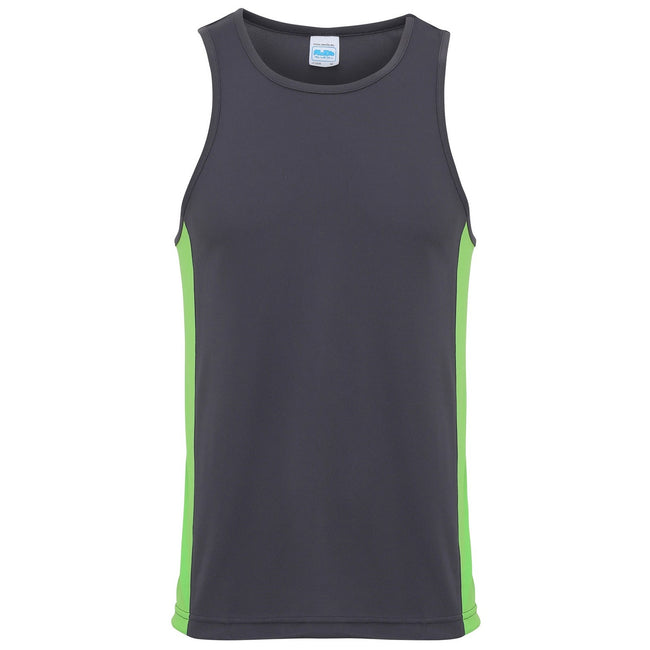 Anthrazit-Limette - Front - AWDis Just Cool Herren Sport Top - Oberteil