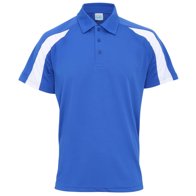 Royal Blau-Arctic Weiß - Front - AWDis Just Cool Herren Kurzarm Polo Shirt mit Kontrast Panel