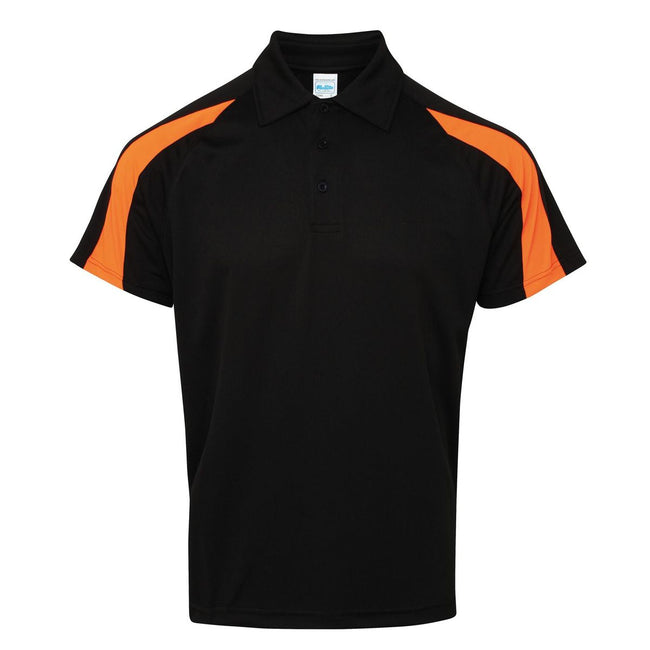 Jet Schwarz-Elektrik Orange - Front - AWDis Just Cool Herren Kurzarm Polo Shirt mit Kontrast Panel