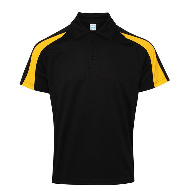 Jet Schwarz-Gold - Front - AWDis Just Cool Herren Kurzarm Polo Shirt mit Kontrast Panel