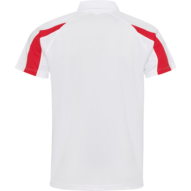 Arctic Weiß-Feuerrot - Back - AWDis Just Cool Herren Kurzarm Polo Shirt mit Kontrast Panel