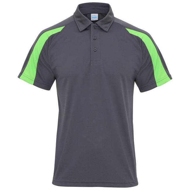 Graphit-Limette - Front - AWDis Just Cool Herren Kurzarm Polo Shirt mit Kontrast Panel