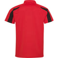 Feuerrot-Jet Schwarz - Back - AWDis Just Cool Herren Kurzarm Polo Shirt mit Kontrast Panel