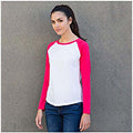 Weiß-Magenta - Side - Skinni Fit Damen Baseball T-Shirt, langärmlig