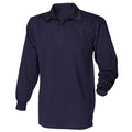 Marineblau-Marineblau - Side - Front Row Herren Polo-Shirt, Langarm