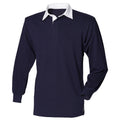 Marineblau-Weiß - Side - Front Row Herren Polo-Shirt, Langarm