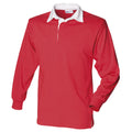 Rot-Weiß - Side - Front Row Herren Polo-Shirt, Langarm