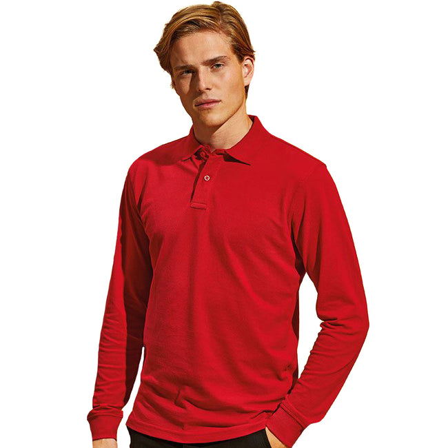 Rot - Lifestyle - Asquith & Fox Herren Polo-Shirt, langärmlig