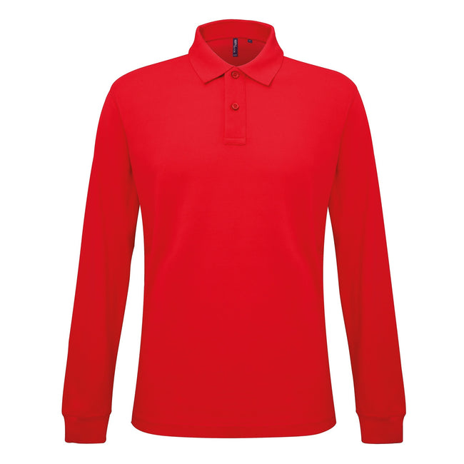 Rot - Front - Asquith & Fox Herren Polo-Shirt, langärmlig