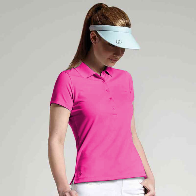 Hot Pink - Back - Glenmuir Damen Performance Pique Polo-Shirt, kurzärmlig