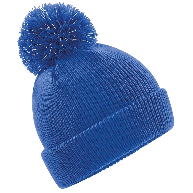 Royal - Front - Beechfield Kinder Reflective Beanie mit Bommel