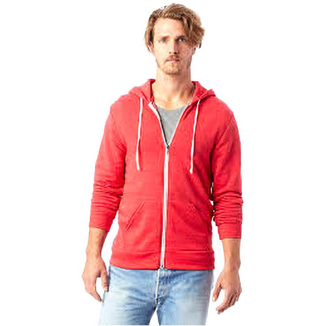 Eco True Rot - Back - Alternative Apparel Herren Rocky Eco-Fleece Kapuzenjacke