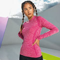 Pink - Back - TriDri Damen Seamless 3D Fit Multi Sport Performance Langarm Top