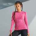 Pink - Side - TriDri Damen Seamless 3D Fit Multi Sport Performance Langarm Top