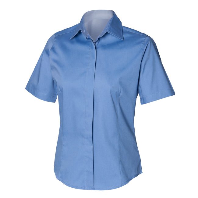 Businessblau - Front - Henbury Damen Oxford Bluse, Kurzarm, körperbetont