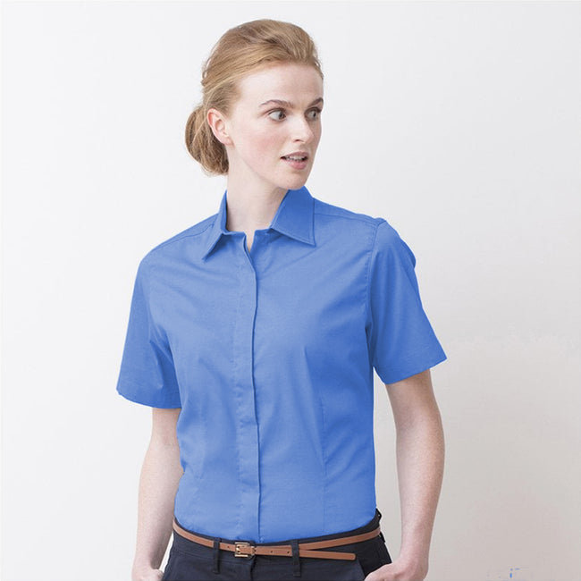 Businessblau - Back - Henbury Damen Oxford Bluse, Kurzarm, körperbetont
