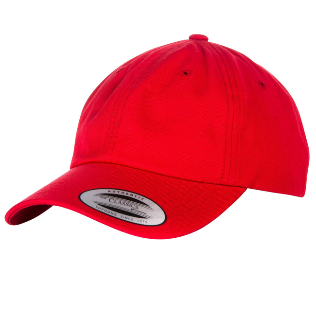 Rot - Front - Yupoong Flexfit 6 Panel Baseball Kappe mit Schnalle (2 Stück-Packung)