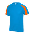 Saphire Blau-Elektrik Orange - Front - Just Cool Kinder Sport T-Shirt Unisex