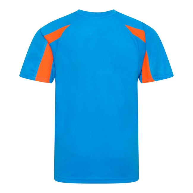Saphire Blau-Elektrik Orange - Back - Just Cool Kinder Sport T-Shirt Unisex