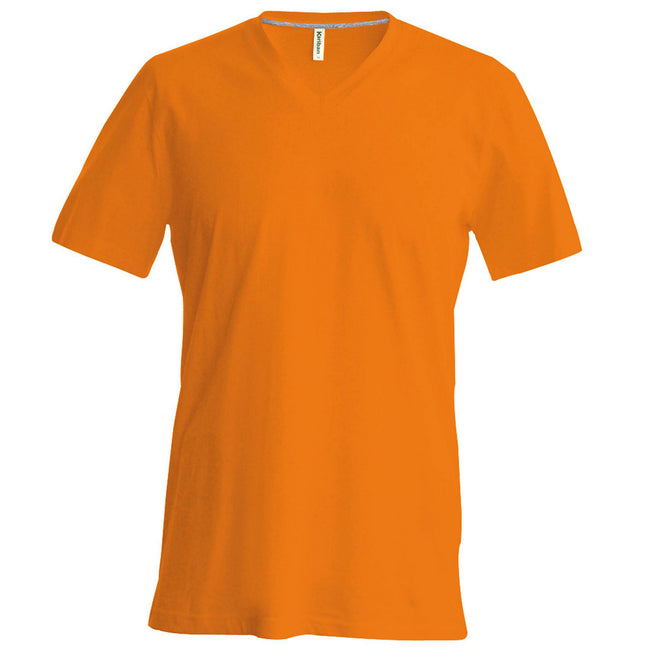 Orange - Front - Kariban Herren T-Shirt Slim Fit V-Ausschnitt