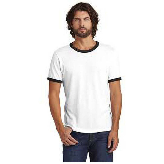 Weiß-Schwarz - Side - Alternative Apparel Herren Ringer-T-Shirt 50-50 Vintage