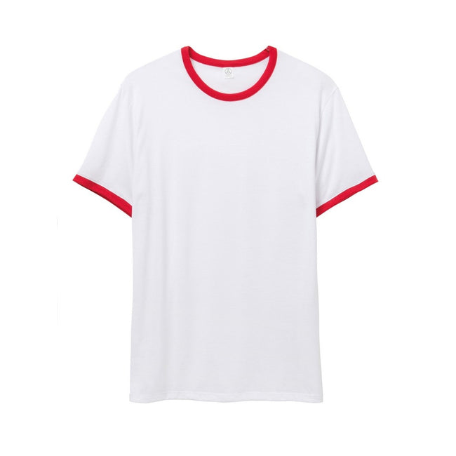 Weiß-Rot - Front - Alternative Apparel Herren Ringer-T-Shirt 50-50 Vintage