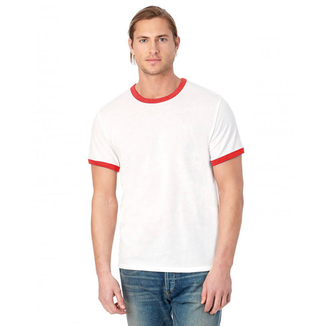 Weiß-Rot - Back - Alternative Apparel Herren Ringer-T-Shirt 50-50 Vintage