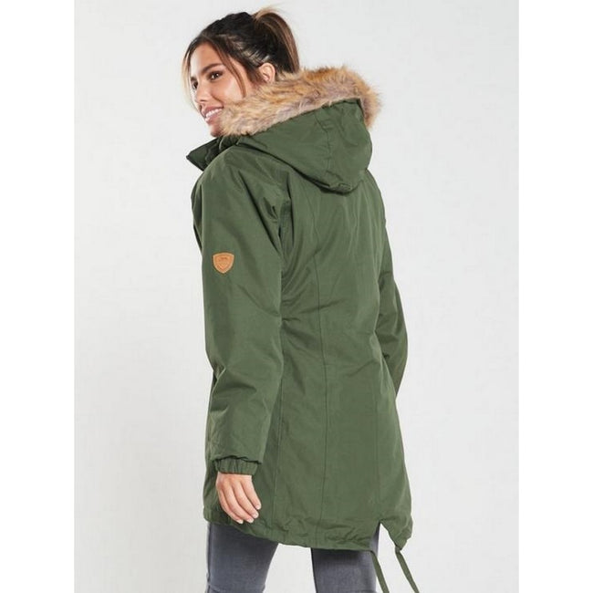 Moosgrün - Side - Trespass Damen Parka Celebrity, isoliert, längere Länge