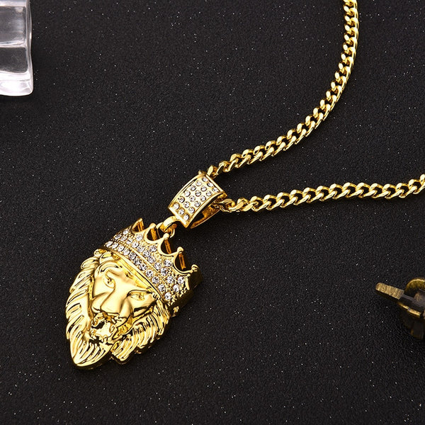 CROWN LION HEAD PENDANT NECKLACE