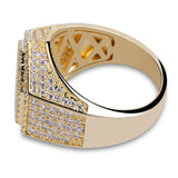 Micro Pave Iced Geometry Ring in Gold