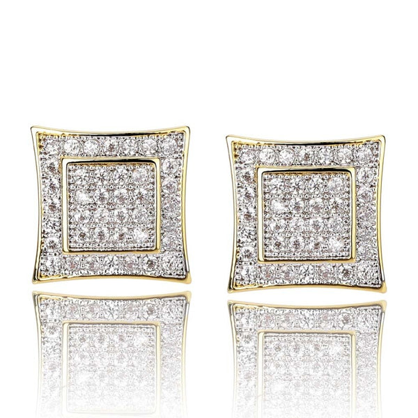 10mm Micro Pave Iced Double Square CZ Stud Earrings in Gold/White Gold