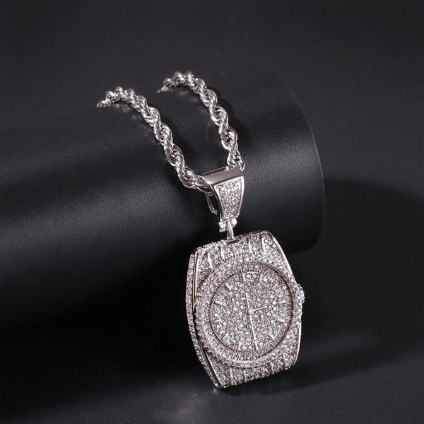 ICE OUT WATCH SHAPE PENDANT NECKLACE