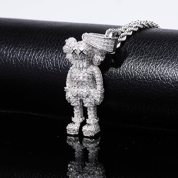 Iced Out Cartoon Puppets Pendant