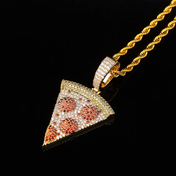 Iced Out Pizza Pendant Necklace