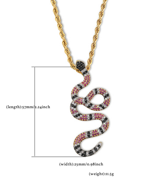 Iced Out Coral Snake Pendant Necklace In Gold/White Gold