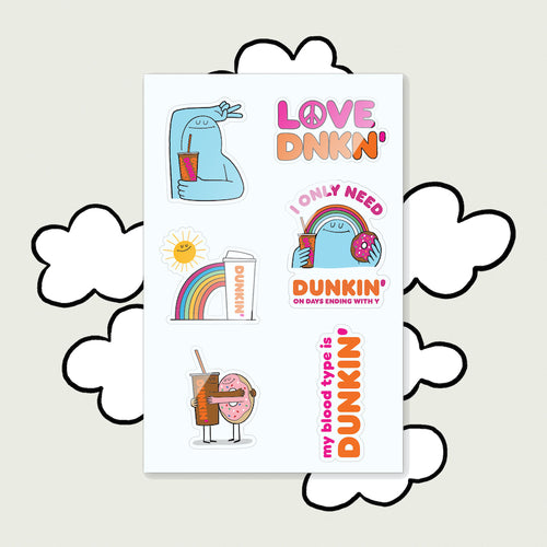 DRINK DUNKIN' BE AWESOME STICKER SHEET