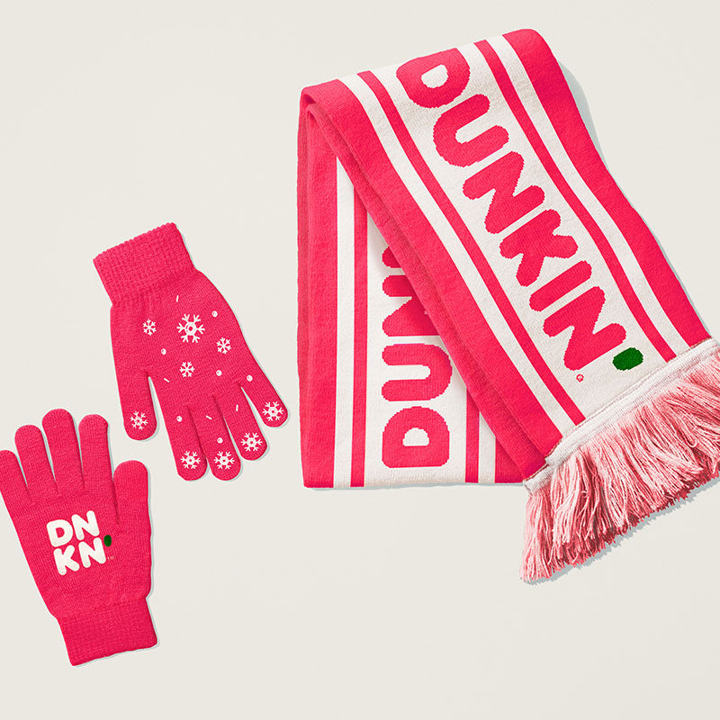 PINK BUNDLIN' UP SCARF AND GLOVES SET