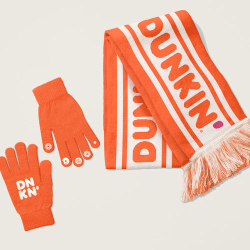 ORANGE BUNDLIN' UP SCARF AND GLOVES SET