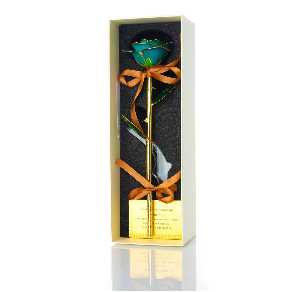 24K Gold Dipped Rose – Tiffany Blue