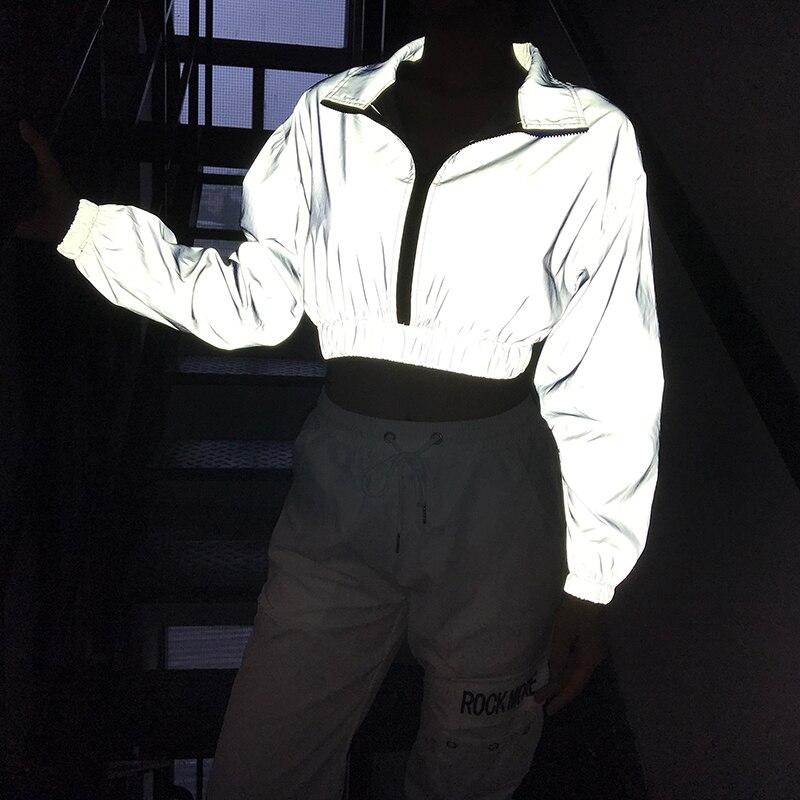 Fluorescent Reflective Cropped Jacket Zipper