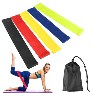 4 Pack Resistance Band Loop Workout Set with Gym Carry Bag - Progression Strength Levels
