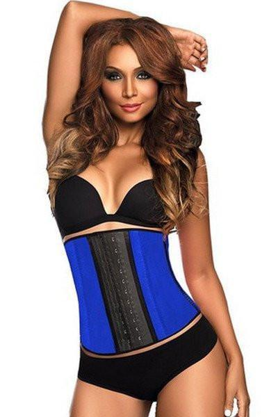 9 Steel Boned Blue Latex Waist Trainer Vest
