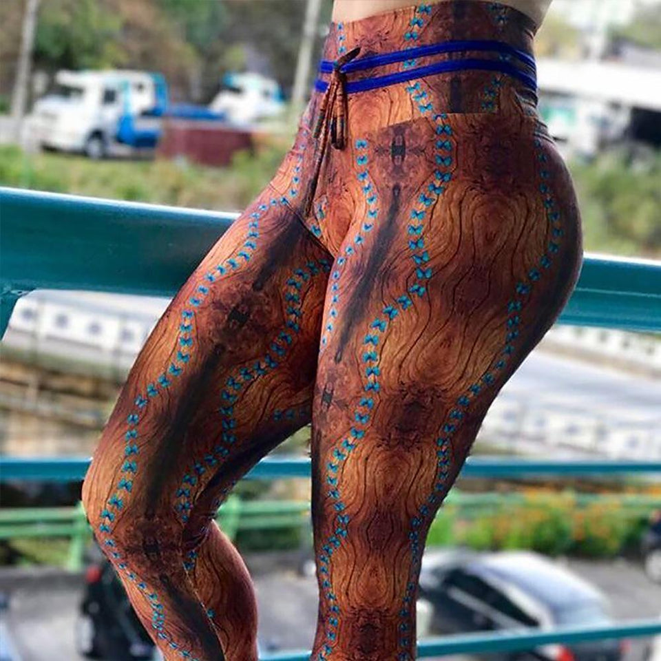 High Waist Mahogany Print Fitness Leggings
