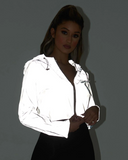 Limelight Cropped Solid-color reflective long-sleeved Zipper Hoodie