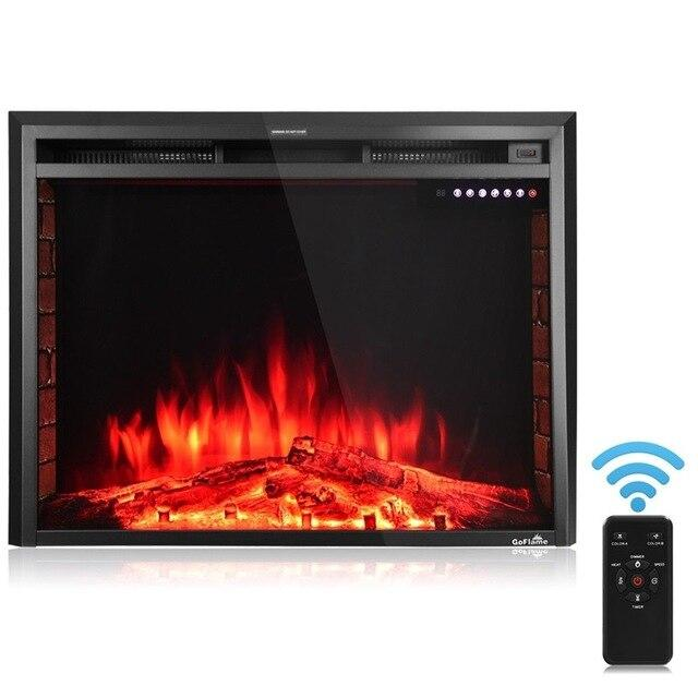 "Costway 36"" Electric Fireplace Insert Freestanding Stove Heater High Quality Tempered Glass Gorgeous Realistic 5 Flame Color"