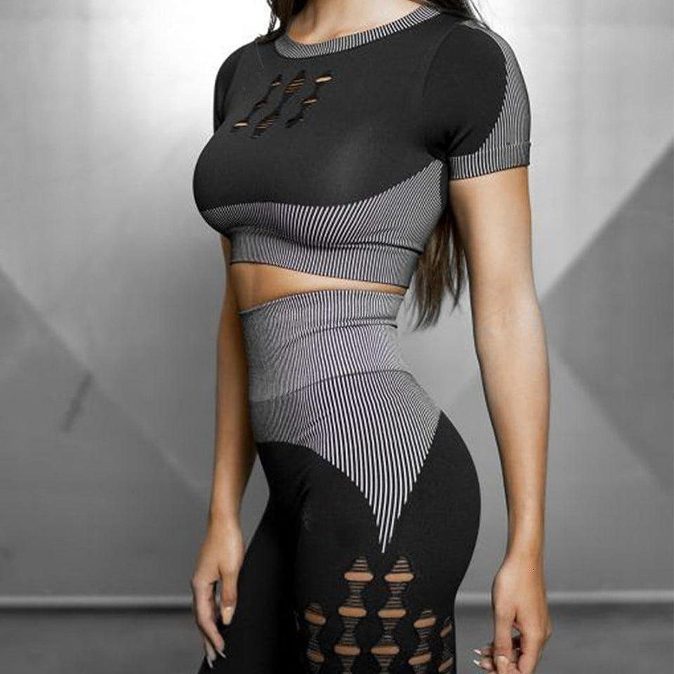 Women Fashion Workout Knitted Seamless 2 Piece Set